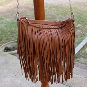 STREET LEVEL Cross body Fringe Bag in Brown